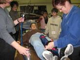 A participant receives practice medical attention