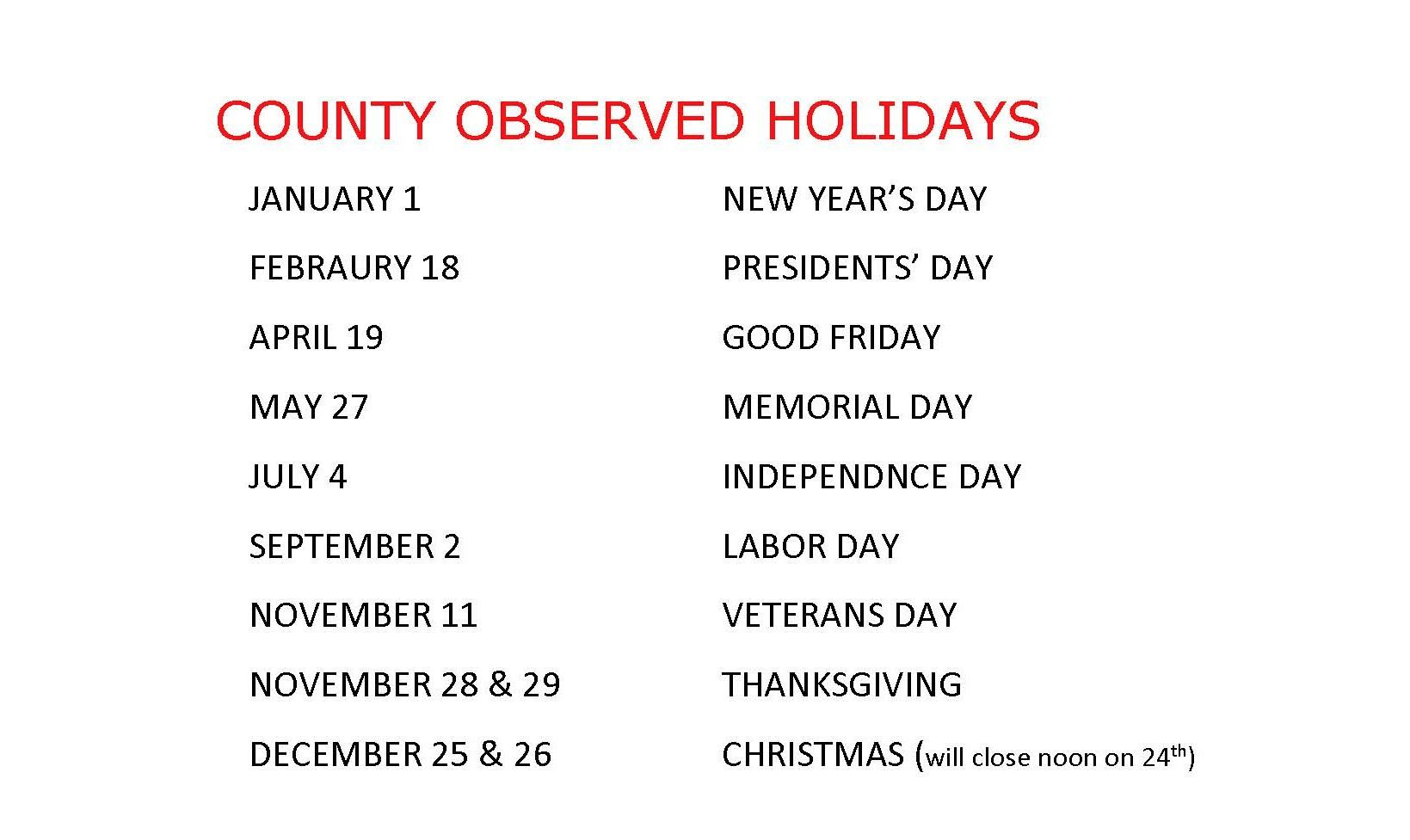 2019 COUNTY OBSERVED HOLIDAYS